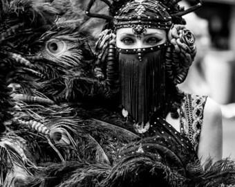 Vedora~Leather Tribal Headdress~Leather Rose Headdress~Burlesque Headdress~Bellydance Headdress~Tribal Bellydance~Burning Man Headdress~