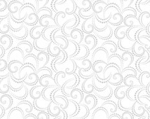 Metallic Fabric - Hip Holiday Dotted Swirl by Blend Fabric - 114 103 06 1 - Metallic Silver - Priced by the 1/2 yard