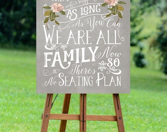 antique wedding sign, no seating plan sign, printable wedding sign, come as you are sign, digital wedding sign, seating plan sign, 16 x 20