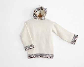 White Knitted Ethnic sweater - Hooded - Wool/Cotton