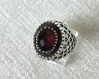 Faux Garnet sterling ring size 10