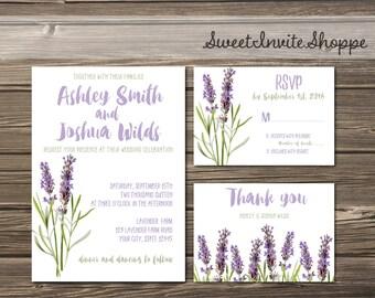 Lavender Wedding Invitation, Botanical Invitation, Boho Herbal Wedding Invitation, Vintage Botanical Invitation Set, Garden Sage Invitation