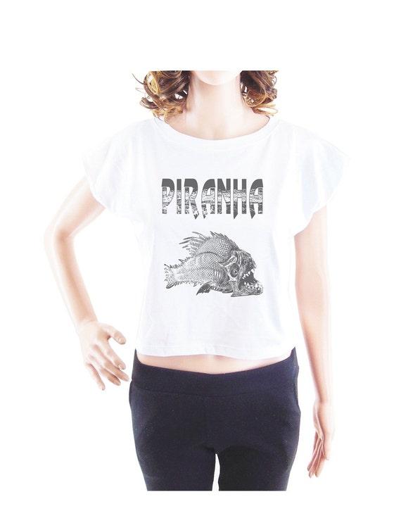 Piranha tshirt fish tshirt women tshirt crop top crop shirt size S