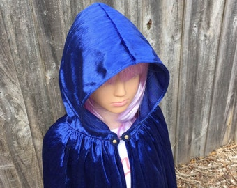 Blue Velvet Hooded Cloak, Wizard Cloak, Royal Cloak, Magician Cloak.