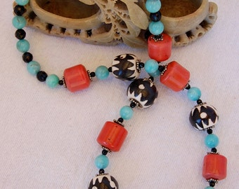 Sherpa Coral, Old Kenya Bone, Amazonite, Black Onyx & Silver Long, Ethnic, Natural, One-of-a-Kind, Dramatic,  Handmade, Original Necklace
