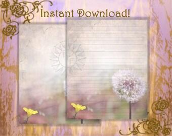 Dandelion Stationery, Dandelion Page, Dandelion Flower, Flower Stationery, Floral Stationery, Unlined Stationery, purple, Lined Stationery