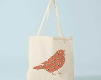 Orange Bird, Tote Bag, canvas bag, cotton bag, ecofriendly bag, groceries bag, canvas shopper, novelty gift coworker, gift women, hen party.