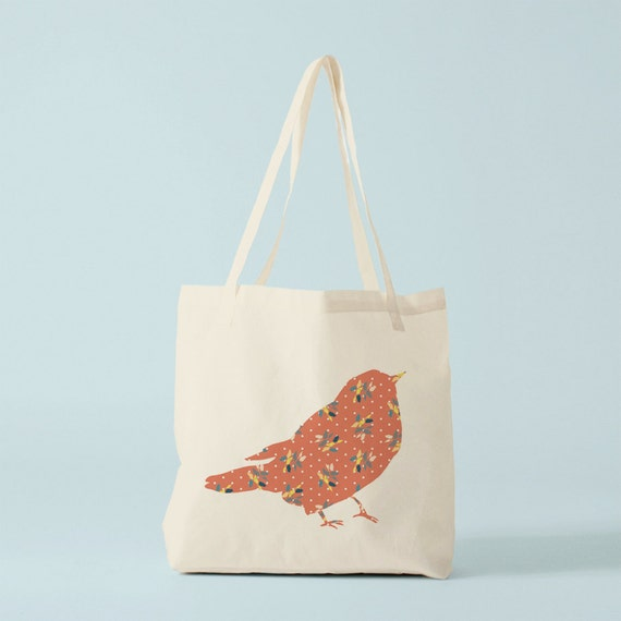 Orange Bird, Tote Bag, canvas bag, cotton bag, ecofriendly bag, groceries bag, canvas shopper, novelty gift coworker, gift women, hen party.