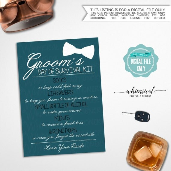 Grooms Survival Kit Card \