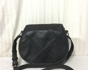 Free Ship Tignanello Black Leather Saddle Bag/Shoulder Bag/Purse