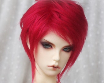 short flaming blood red BJD doll fur wig SD MSD yosd