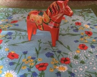 2.75 inch Red Dala Horse, Wood Dala Horse, Small Dalarna Horse, Small Wood Dala Horse, Swedish Christmas, Horse Lover Gift, Folk Art Horse
