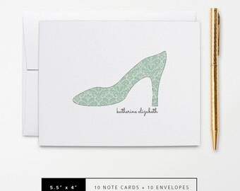 Flat or Folded Note Cards // Set of 10 // High Heel with Vintage Green Damask Pattern and Name // Personalized Stationery // S121