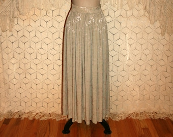 Long Skirt Swing Skirt Full Skirt Maxi Skirt 90s Skirt Medium Boho Skirt Rayon Damask Skirt Women Light Green Skirt Womens Vintage Clothing