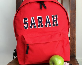 Personalised Applique Name Rucksack Varsity Style Letters Backpack Girls and Boys School Gym School Swimming Bag Ballet