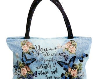 Pride and Prejudice Hand-Bag, Jane Austen bag,  Mr. Darcy quote Bag, Pride and Prejudice purse, Sac, Sack
