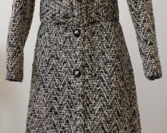 1960s Tweed Coat Dress w/Matching Belt L/XL