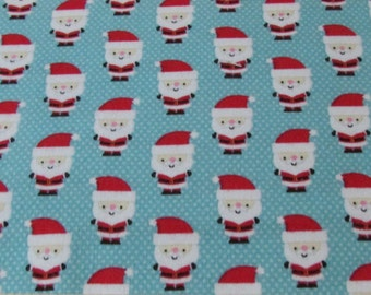 Christmas Flannel Fabric - Santa Claus Blue - 1 yard - 100% Cotton Flannel