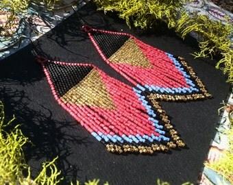 Crimson Sunset..Beaded Fringe Earrings Native American Inspired
