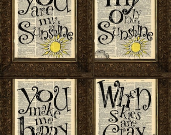 You Are My Sunshine set Dictionary Prints, set of 4, Antique Dictionary Pages, Mixed Media Collage,  Wall Decor, Wall Art