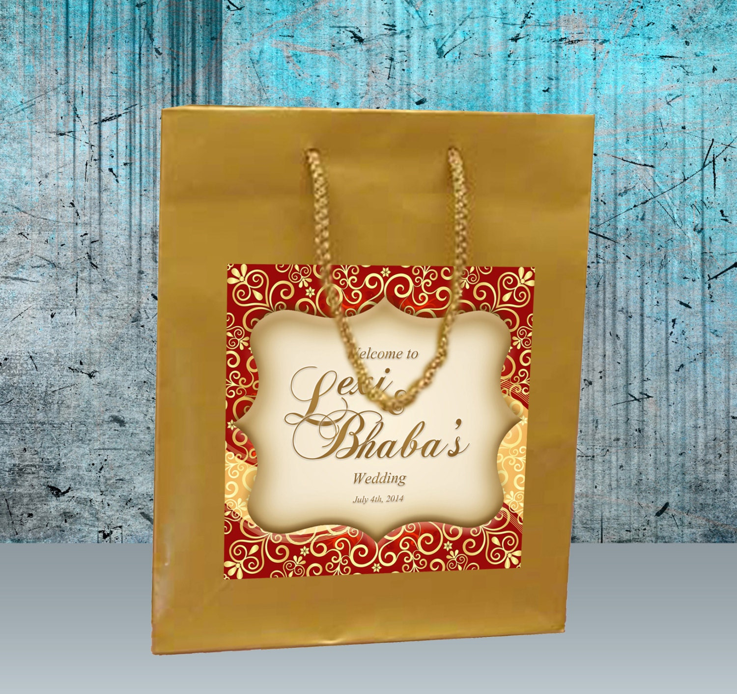 Indian Wedding Gift Bags Boxes : 20 Indian Inspired Wedding Welcome Bag design on a matte gold