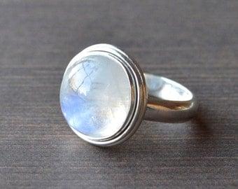 Full Rainbow Moonstone Ring