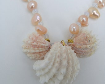 Pink and white shell necklace - spiny jewelbox shell necklace - shell necklace - beach necklace - unique  - freshwater pearl necklace -