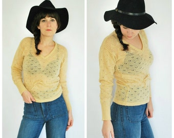70's Knit Sweater - Tan Drawstring Waist Sweater - Size S