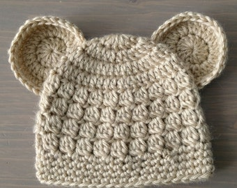 Beige Baby Bear Hat, Crochet Baby Hat, Crocheted Bear Hat, Baby Bear Beanie, Baby Boy Hat, Baby Girl Hat, Newborn Photo Prop, Animal Hat