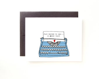 Miss You Card - Vintage Typewriter - Pen Pals - Thinking of You - Friendship - Blank Stationery Card
