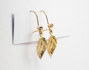 CZ Leaf 14k Yellow Gold  Dangle  Earrings