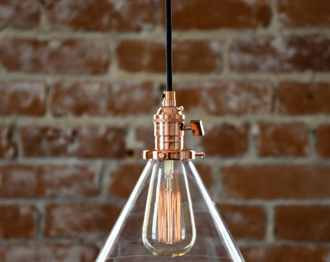 "Copper Pendant Light Glass 7"" Cone Industrial Shade Round Plug In or Canopy Kit Cloth Covered Wire"