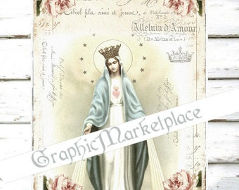 Madonna Holy Mary Religious Holy Card Instant Download Transfer Burlap digital collage sheet graphic printable No. 980