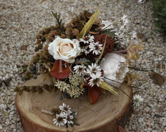 Imogen, Fall/Autumn, Rustic Bridal Bouquet & Boutonniere Set, Peony, Daisy, Pine cone Textured Posy