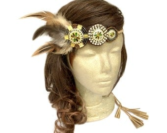 Feather Headband, Native American Feather Headband, Tribal Headband, Boho Headband, Indian Headband, Music Party Hair Jewery, Concert