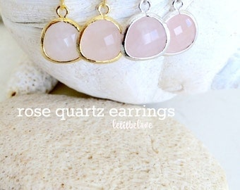 rose quartz earrings,dangle earrings,rose drop earrings,silver earrings,gold earrings,pale pink,rose,Bridesmaid Earrings,Bridesmaid Gifts