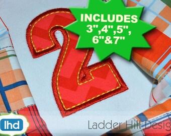 Applique Birthday Number Set -- Number Applique Design -- Number Set Applique -- 3, 4, 5, 6 & 7 INCHES tall