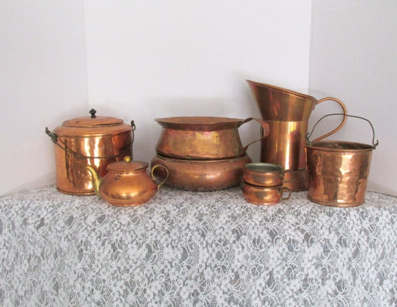 antique kitchen accessories antique copper 10 pan set kitchen home decor handled 1273