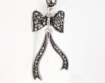 Black Crystal Bow Stud Earrings, Sparkly Bow Earrings, Long Bow Earrings, Ribbon Bow Earrings, Bow Jewellery, Black Marcasite Earrings