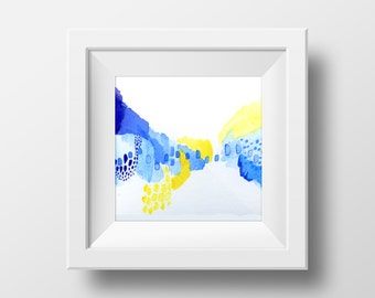 Bright Watercolor Abstract Art Print. Colorful Wall Art. Small Abstract Art. Modern Home Decor.
