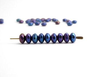 60 x 4x7mm Blue Iris Gemstone Donut Czech Glass Beads, Rondelle Beads, Faceted Beads, Blue Iris Beads GMD0151