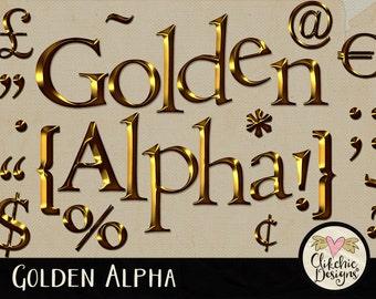 Gold Alpha - Digital Scrapbook Alpha Clipart - Golden Metal Alpha - Gold Metal Digital Alphabet, Digital Letters Clip Art, Digital Alpha