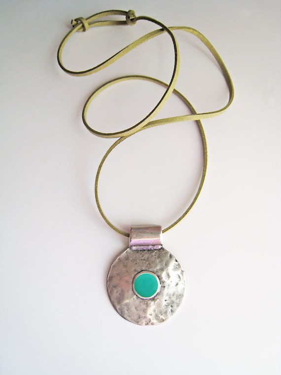 Bohemian necklace, mint green necklace, light green resin necklace, boho tribal pendant, hammered silver round pendant, ancient greek amulet