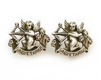 Sagittarius CINI Sterling Earrings, Astrology Earrings, Sterling Zodiac, Vintage Zodiac, Sagittarius Earring, Vintage Cherub Earrings Clip