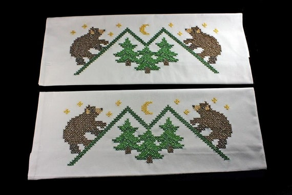 Embroidered Pillowcases, Bear Mountain, Standard Size, Cross Stitch, Brown and Green, Set of 2, Cross Stitched White Pillowcases