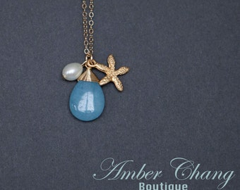 Gold Necklace Charm Necklace Blue Jade and Starfish Necklace with Freshwater pearl Gold Filled Chain Beach Jewelry