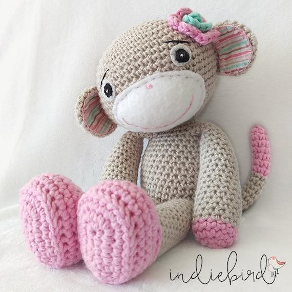 Amigurumi Yarn Australia : Personalised Girl Monkey Amigurumi Monkey by IndiebirdHandmade