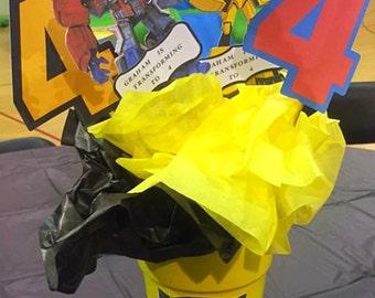 Transformers birthday center piece