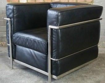 Le Corbusier Le Petit Confort LC2 Style Black Leather Good Quality Armchair , Vintage Retro