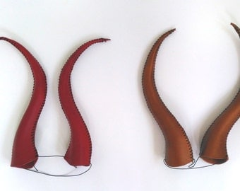 Leather Horns Ready to Ship Red Gold Medium Maleficent Halloween Costume Accessory Roleplay Fantasy Ren Faire Theater LARP